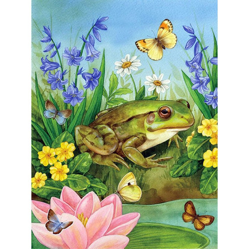 5D Diamond Painting Frog and Butterflies Kit