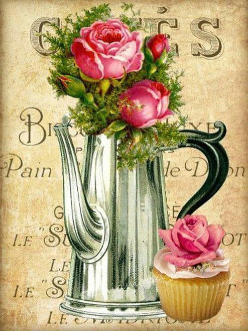 5D Diamond Painting Rose Cupcake Coffee Pot Kit