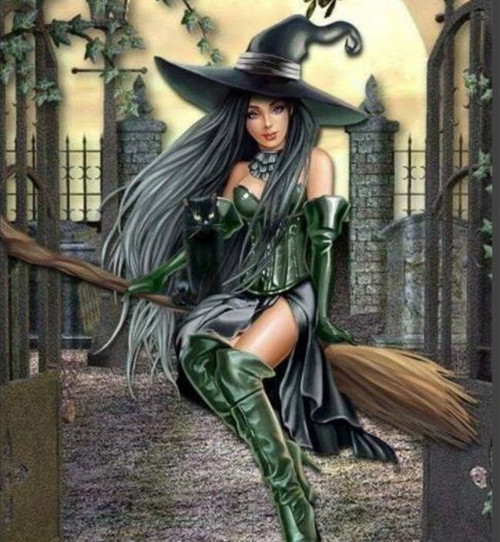 5D Diamond Painting Green Boot Witch & Cat Kit