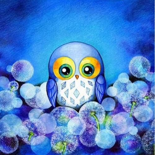 5D Diamond Painting Little Blue Owl Kit