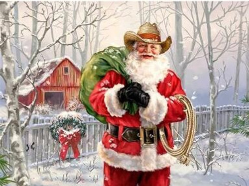 5D Diamond Painting Cowboy Santa Kit