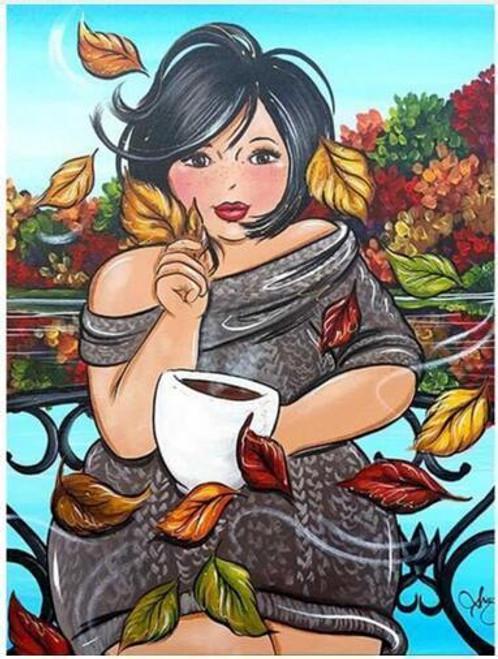5D Diamond Painting Curvy Girl Fall Coffee Kit