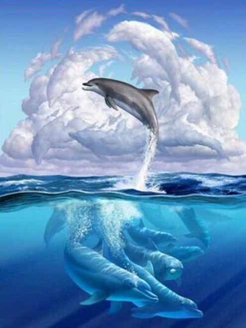 5D Diamond Painting Dolphin Clouds Kit