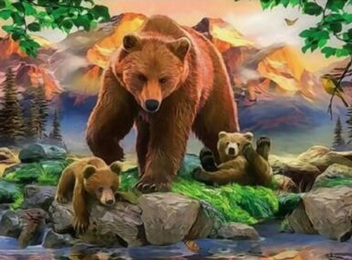 5D Diamond Painting Brown Bear and Her Cubs Kit