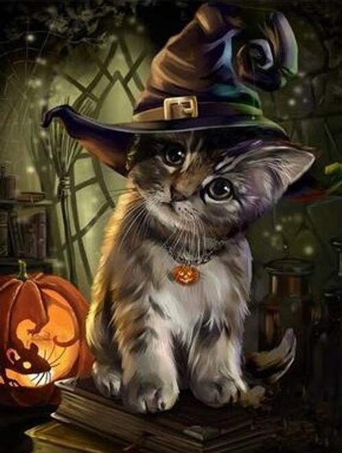 5D Diamond Painting Halloween Kitten Kit