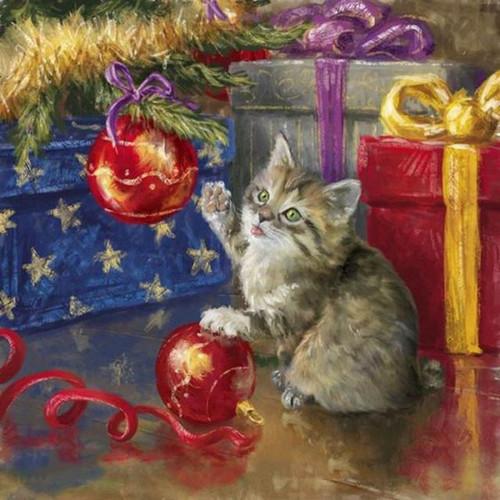 5D Diamond Painting Kitten Christmas Balls Kit