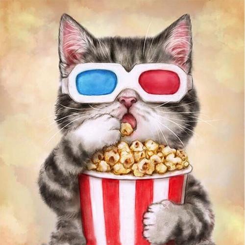 5D Diamond Painting 3D Kitten and Popcorn Kit