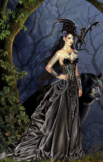 5D Diamond Woman with a Black Dragon and Bear Kit