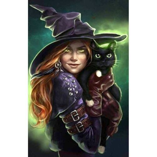 5D Diamond Painting Glowing Eye Witch and Black Cat Kit