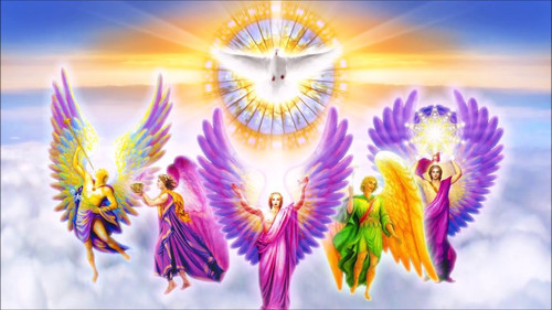 5D Diamond Painting Dove and Five Angels Kit