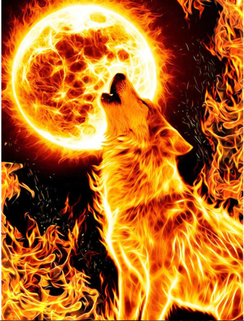5D Diamond Painting Fire Wolf and Moon Kit