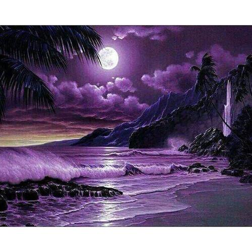 5D Diamond Painting Purple Ocean at Night Kit
