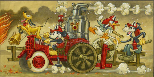 5D Diamond Painting Mickey Old Time Fire Truck Kit