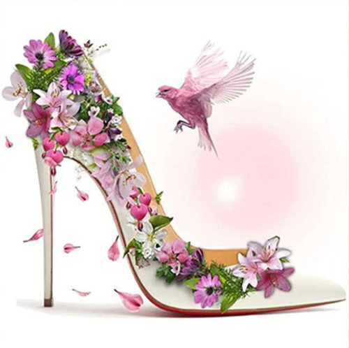 5D Diamond Painting Pink Bird Flower Stiletto Kit