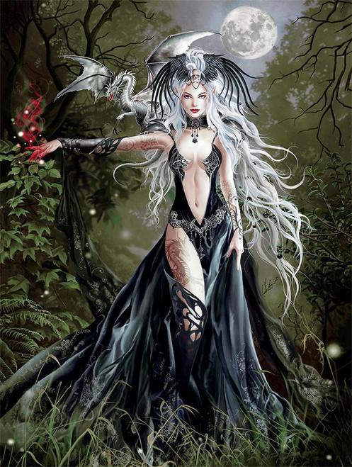 5D Diamond Painting White Dragon Woman Kit