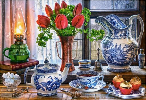 5D Diamond Painting Tea and Tulips Kit