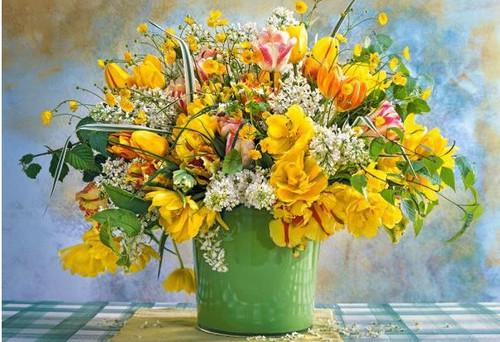 5D Diamond Painting Green Vase Bouquet Kit