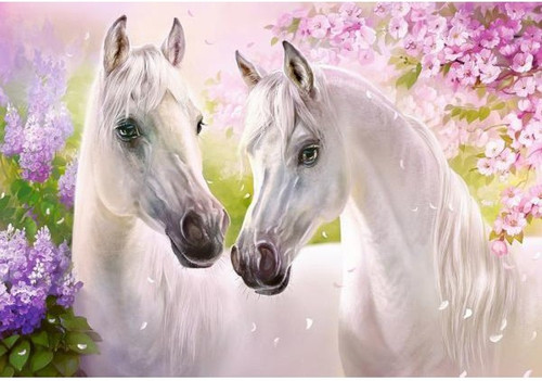 5D Diamond Painting Two White Horses in the Flowers Kit