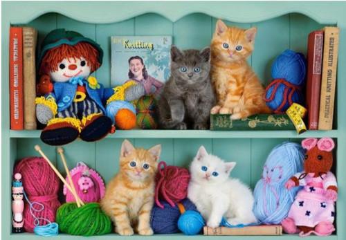 5D Diamond Painting Four Kittens on a Shelf Kit
