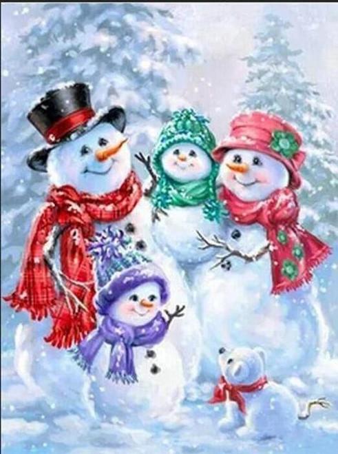 5D Diamond Painting Snowman Family Kit