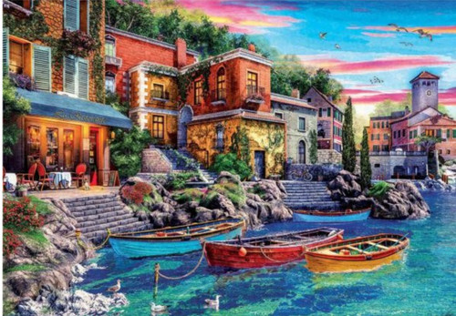 5D Diamond Painting Boats by the Restaurant Kit