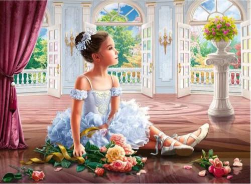 5D Diamond Painting Little Ballerina with Flowers Kit