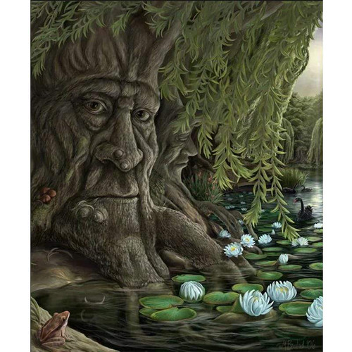 5D Diamond Painting Face in the Tree Along the Pond Kit