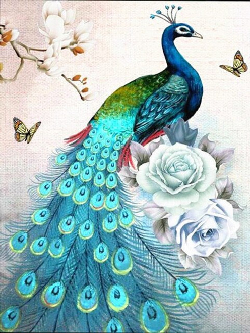 5D Diamond Painting Peacock and Two Roses Kit