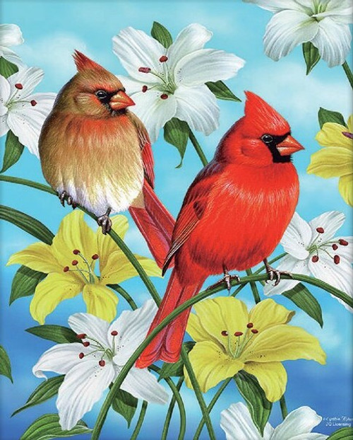 5D Diamond Painting Cardinals in the Lilies Kit