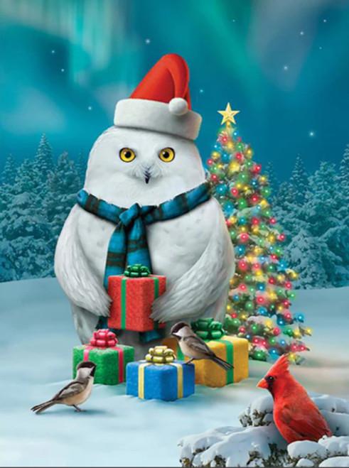 5D Diamond Painting White Owl Christmas Presents Kit
