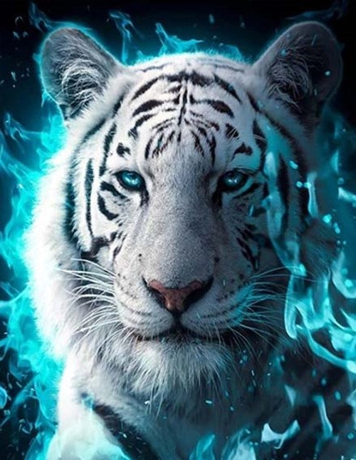 5D Diamond Painting Blue Fire White Tiger Kit