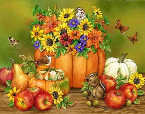 5D Diamond Painting Bird & Squirrels by the Flower Pumpkin Kit