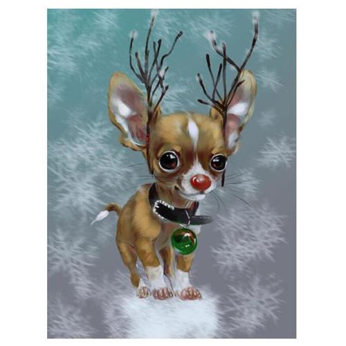 5D Diamonds Painting Reindeer Chihuahua Kit