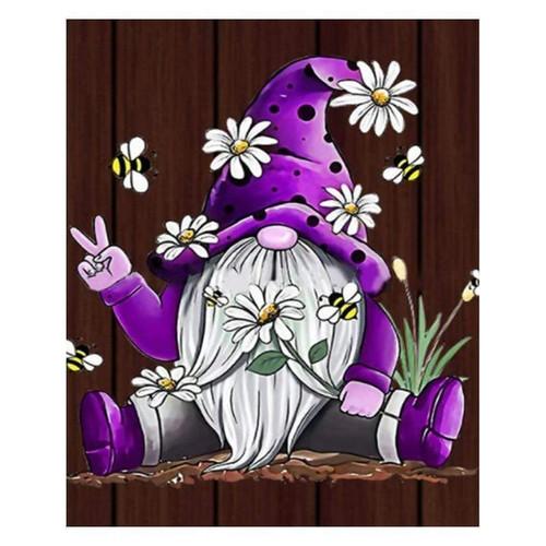 5D Diamond Painting Purple Daisy Gnome Kit