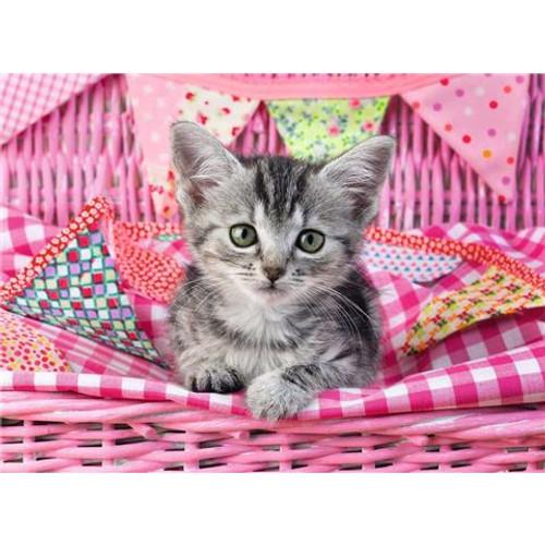 5D Diamond Painting Pink Basket Kitten Kit
