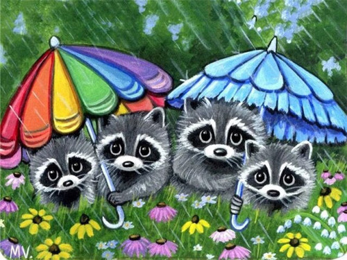 5D Diamond Painting Four Little Raccoons in the Rain Kit