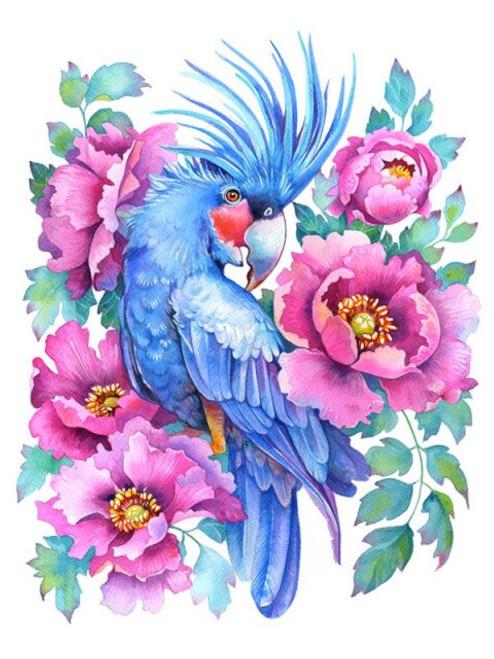 5D Diamond Painting Blue Bird in the Pink Flowers Kit