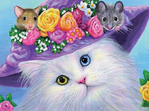 5D Diamond Painting Mouse Hat Cat Kit