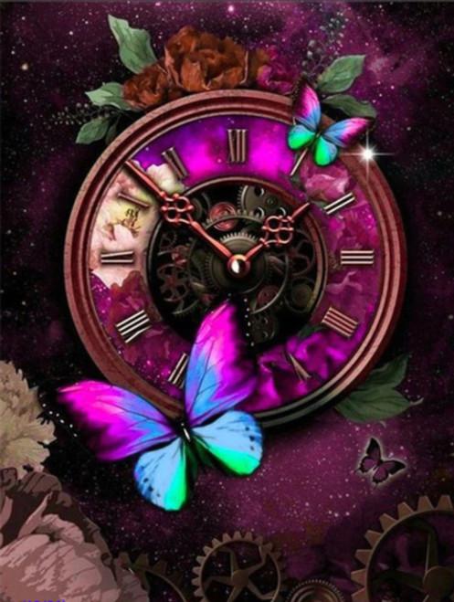 5D Diamond Painting Butterfly Galaxy Steam Punk Clock Kit