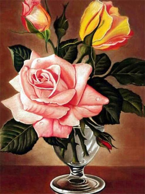 5D Diamond Painting Glass Vase Pink Rose Kit