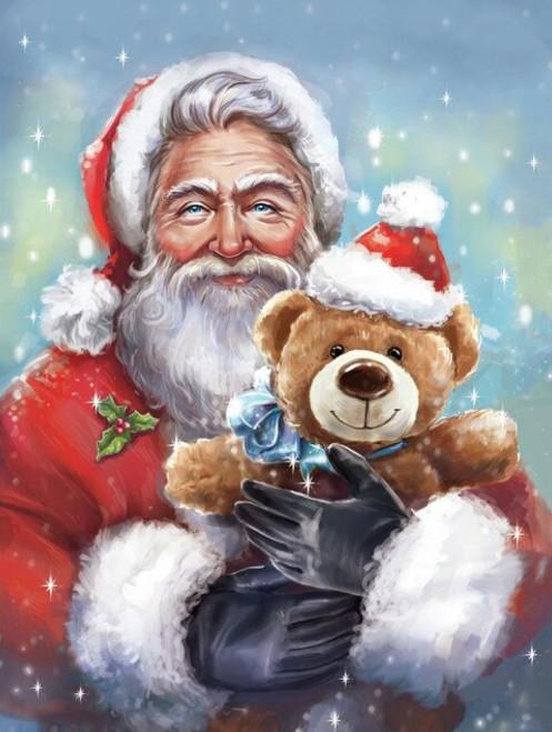 5D Diamond Painting Santa and a Teddy Bear Kit