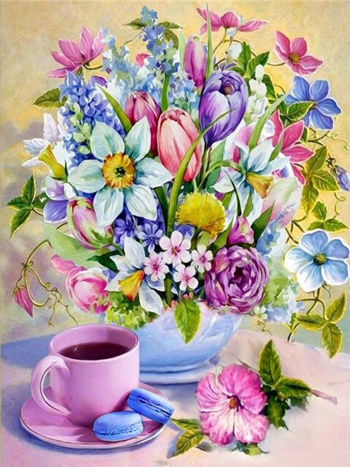 5D Diamond Painting Pink Tea Cup and Flowers Kit