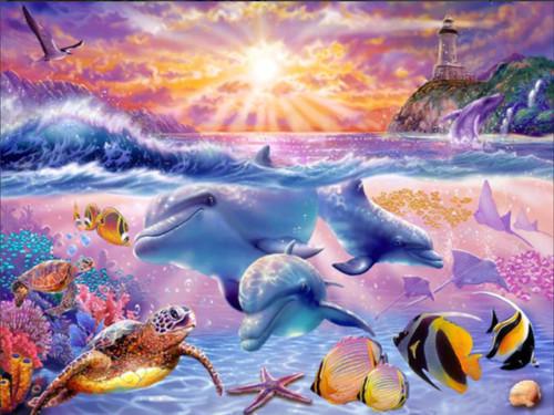 5D Diamond Painting Three Dolphin Lighthouse Kit