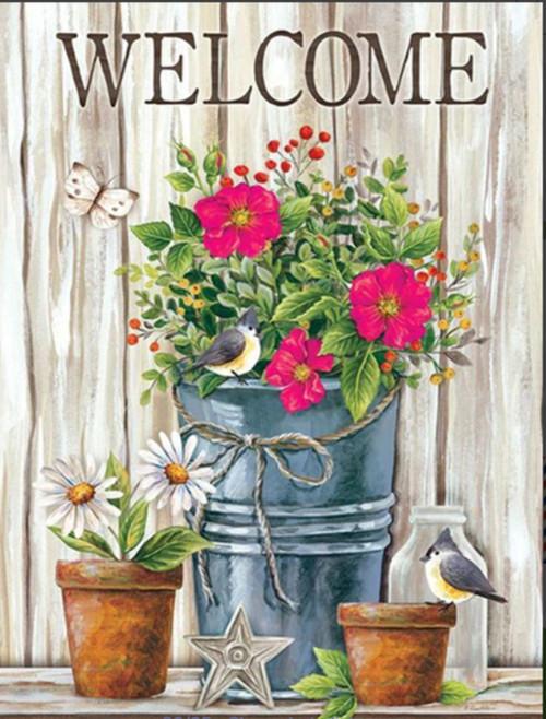 5D Diamond Painting Tin Bucket of Flowers Welcome Kit