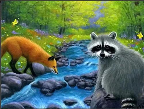5D Diamond Painting Fox and Raccoon Kit