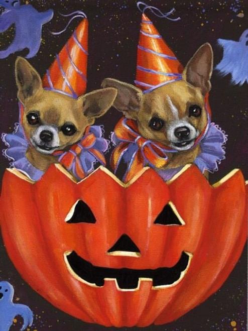 5D Diamond Painting Two Halloween Chihuahuas Kit