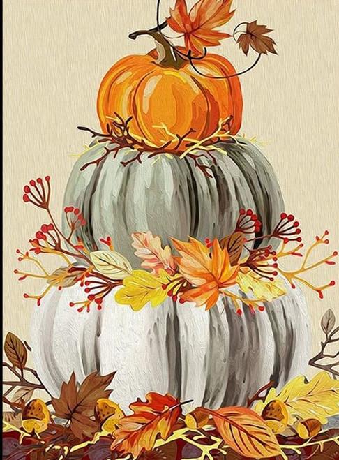 5D Diamond Painting Pumpkins and Leaves Kit