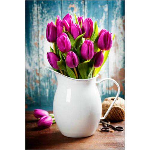 5D Diamond Painting White Vase Tulips Kit