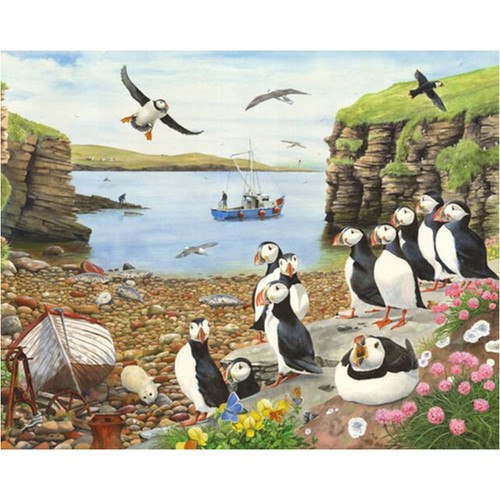 5D Diamond Painting Puffins by the Bay Kit