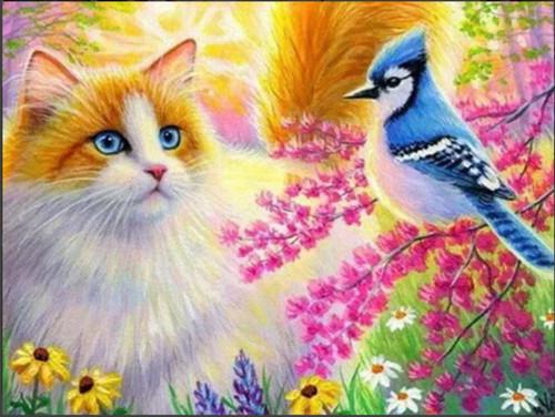 5D Diamond Painting Cat and Blue Bird Kit